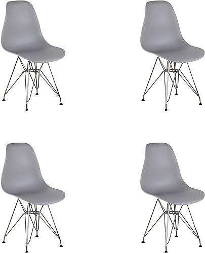 ExAchat Set of 4 Mid Century Modern Molded Chair Eiffel Style Metal Legs