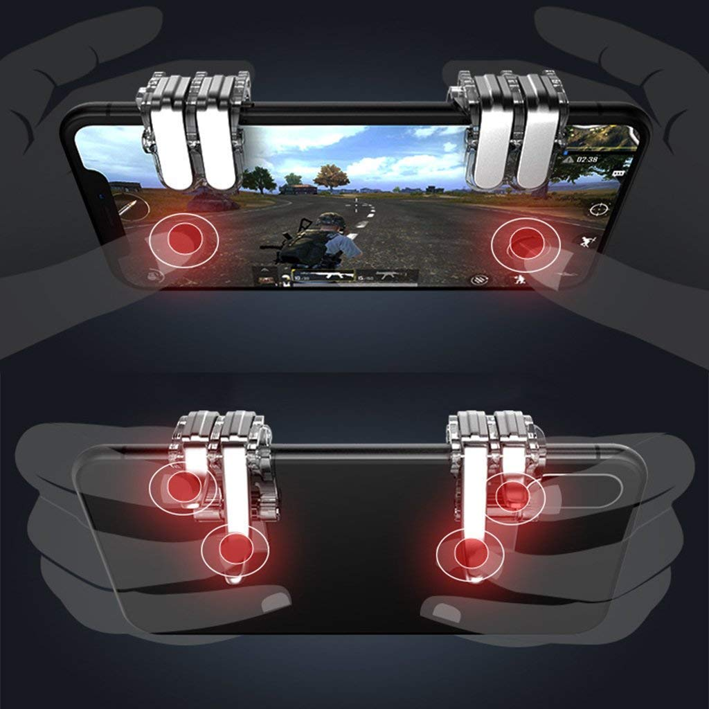 Green Newly Improved Metal Buttons Wilderness Action Controller Transparent Clip Game pad Push Button Shooting Button Sensitivity Good high-Speed Shooting Left and Right 2 Point Set not Blocking Gaze