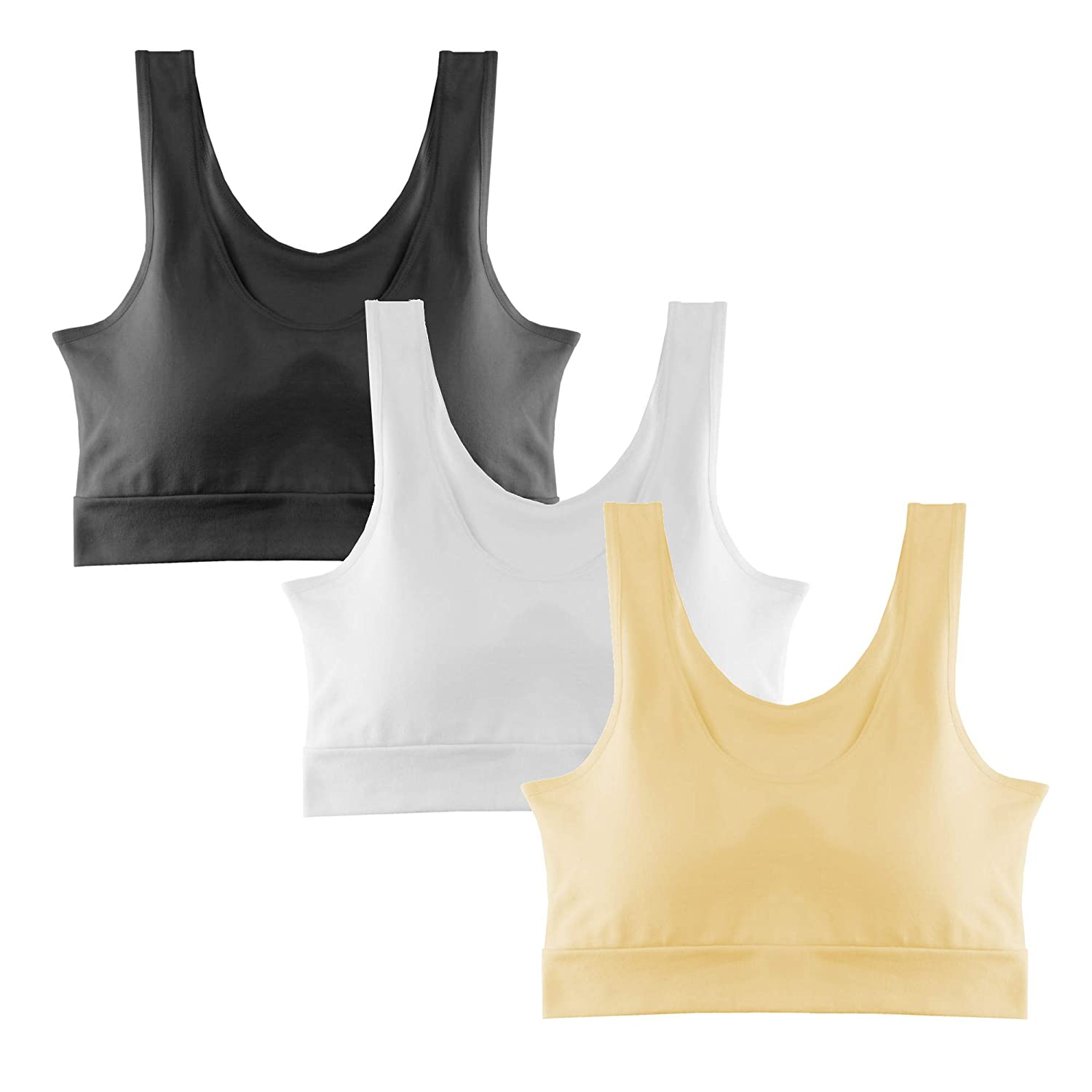 Popular Girl's Cotton Sports Bra Removable Padding - 3 Pack POP-AB998A