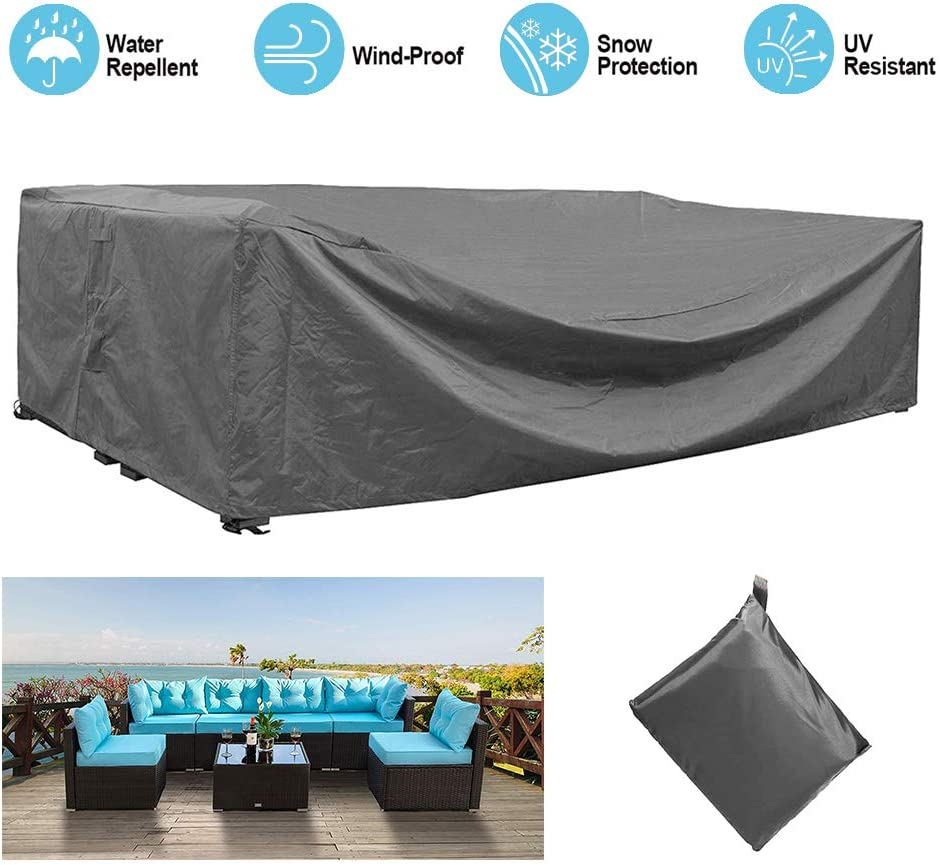 STARTWO Outdoor Patio Furniture Sectional Couch Cover 100% Waterproof Fabric, Porch Sofa, Rectangular Table Chairs Protector Large Furniture Cover, Designed with Straps for Snug Fit : Garden & Outdoor