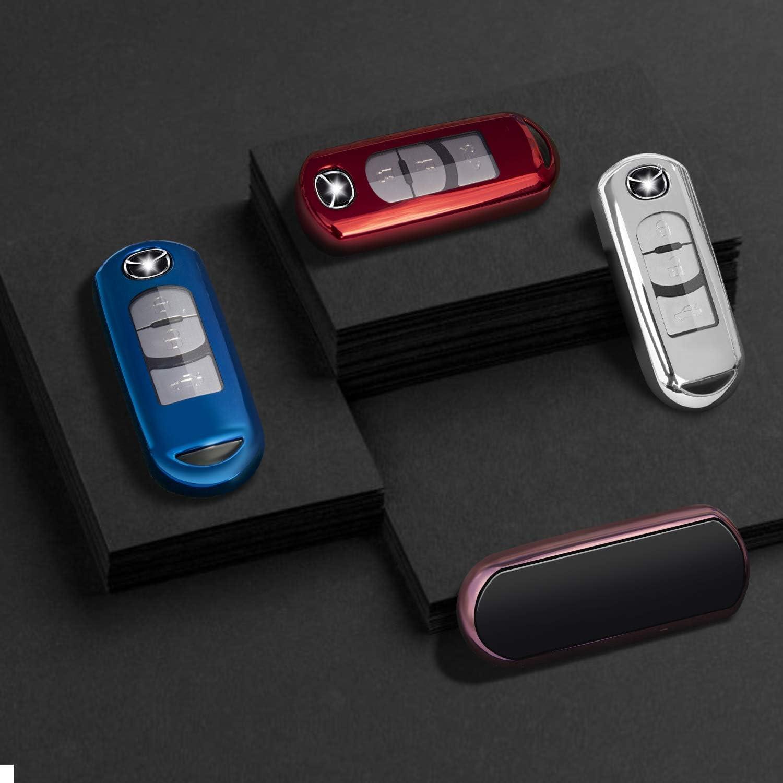 for Mazda Key Fob Cover Blue Key Fob Case for Mazda 3 5 6 8 Miata MX-5 CX-3 CX-5 CX-7 CX-9 MX-5 4 3 2 Buttons Smart Remote Premium Soft TPU Mazda Key Cover