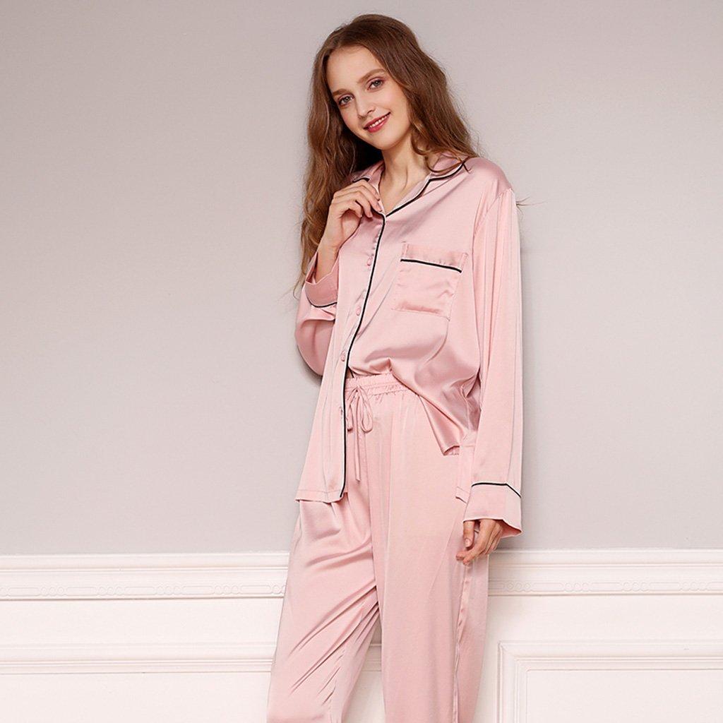 Las mujeres Sexy Pink V-cuello pijama rebeca rebeca seda casera ...
