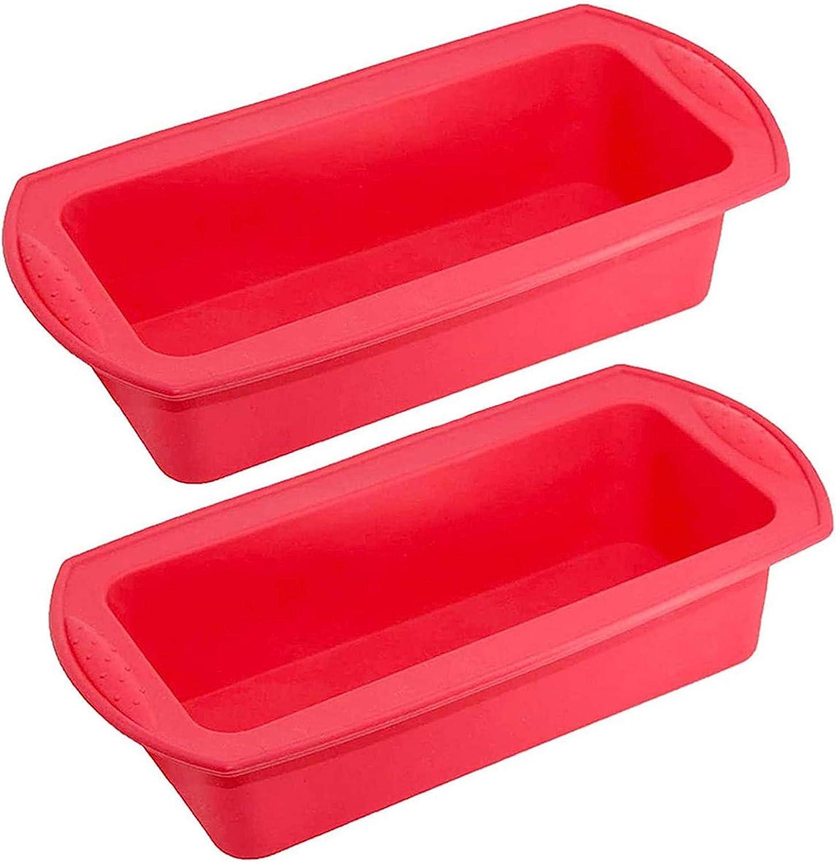 Limeow Molde Rectangular de Silicona Rojo Pasteles Molde Cuadrado Largo para Pasteles Rojo Molde Rectangular Silicona para Pan Molde 2 Piezas para Hornear DIY Suministros de Cocina Pastel