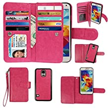 Samsung Galaxy S5 Case, xhorizon TM Premium Leather Folio Case [Wallet Function] [Magnetic Detachable] Fashion Wristlet Lanyard Hand Strap Purse Soft Flip Book Style Multiple Card Slots Cash Compartment Pocket with Magnetic Closure Case Cover Skin ZA5 for Samsung Galaxy S5 (i9600) - Rose Red