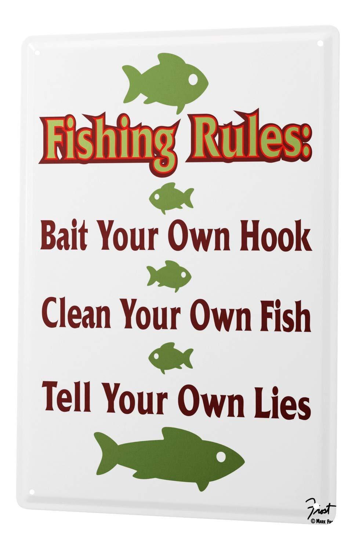 Cartel Letrero de Chapa XXL Piscis Pesca normas de pesca ...
