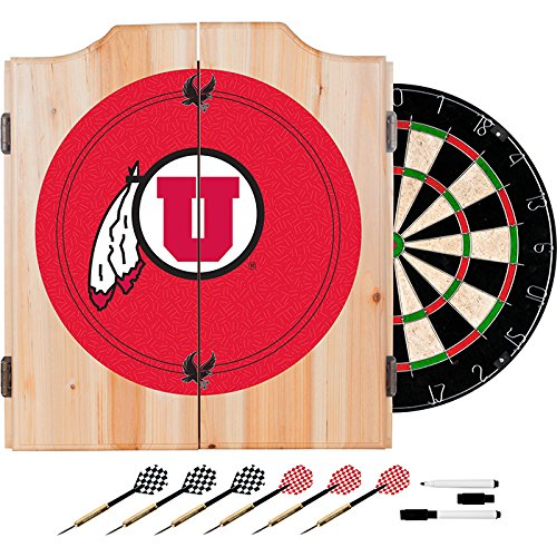 University of Utah Deluxe Solid Wood Cabinet Complete Dart Set - Officially Licensed! by TMG