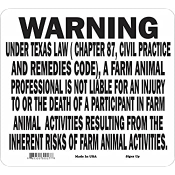 Amazon.com : TEXAS Equine Sign activity liability warning statute ...
