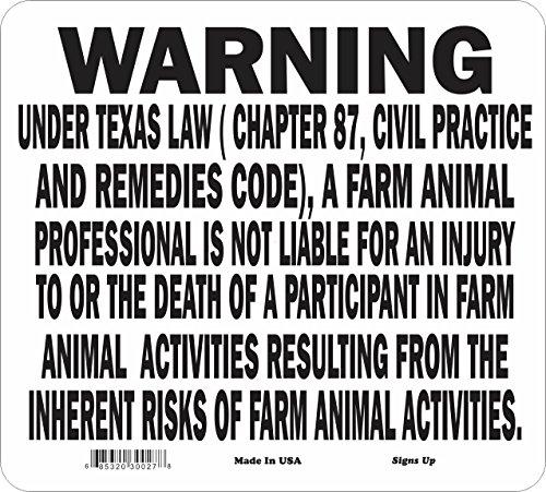 Texas State Farm Animals Liability Warning Sign
