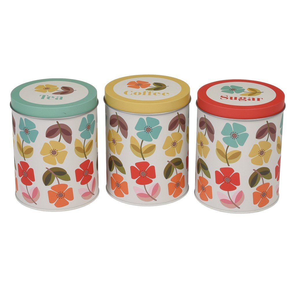 dotcomgiftshop Set Of Tea Coffee Sugar Tins - Choice Of Design (Blue Tit) Rex International Ltd