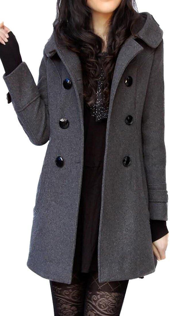 Pivaconis Womens Elegant Hoodie Double-Breasted Wool Blend Pea Coats
