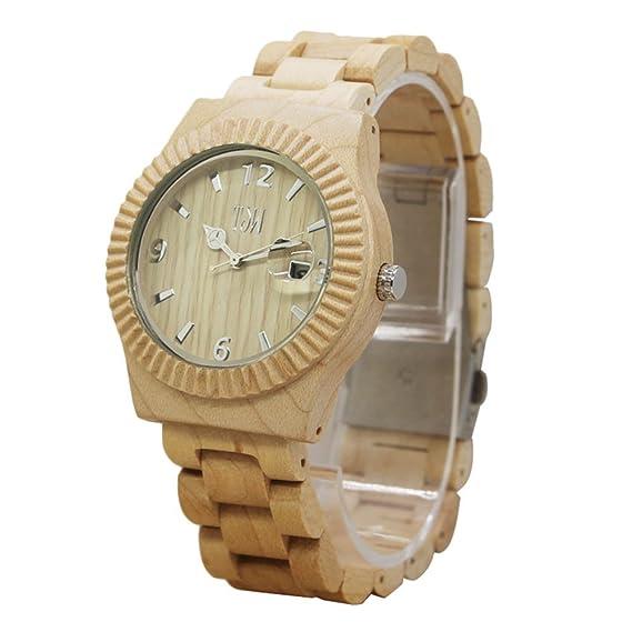 Espeedy Venta caliente moda simple hombres relojes de madera pulsera reloj de cuarzo relojes hombre reloj casual: Amazon.es: Relojes