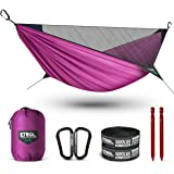ETROL Upgraded 2 in 1 Ridge Hammock with Mosquito Net - Lightweight Portable Single Hammocks - Tree Straps, Hold Up to 485lbs