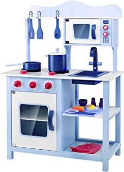 Lauraland Play Kitchen, Wooden Little Chef Pretend Play Kitchen Cooking Toy  Set with 16-Piece Cookware Accessories, Intelligent Toy Kitchen Playset ...