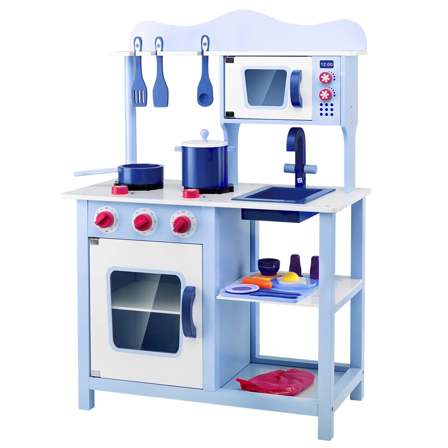 Lauraland Play Kitchen Set for Children, Wooden Pretend Play Kitchen Cooking Toy Set with Cookware Accessories, Vintage Toy Kitchen Set for Toddlers, Blue