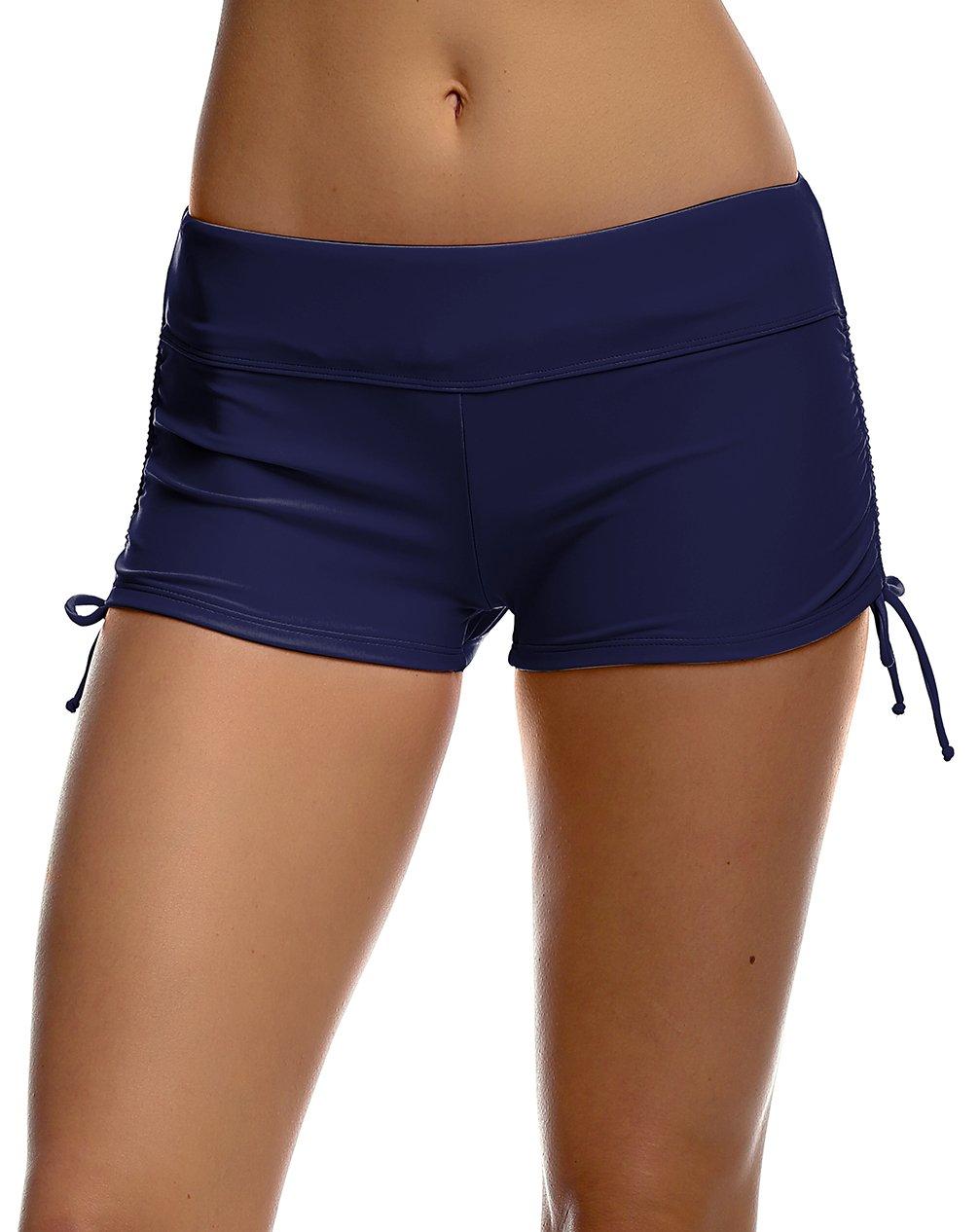 Women's Solid Black Beach Pant Bikini Bottom Adjustable Tie Boy Short Navy M