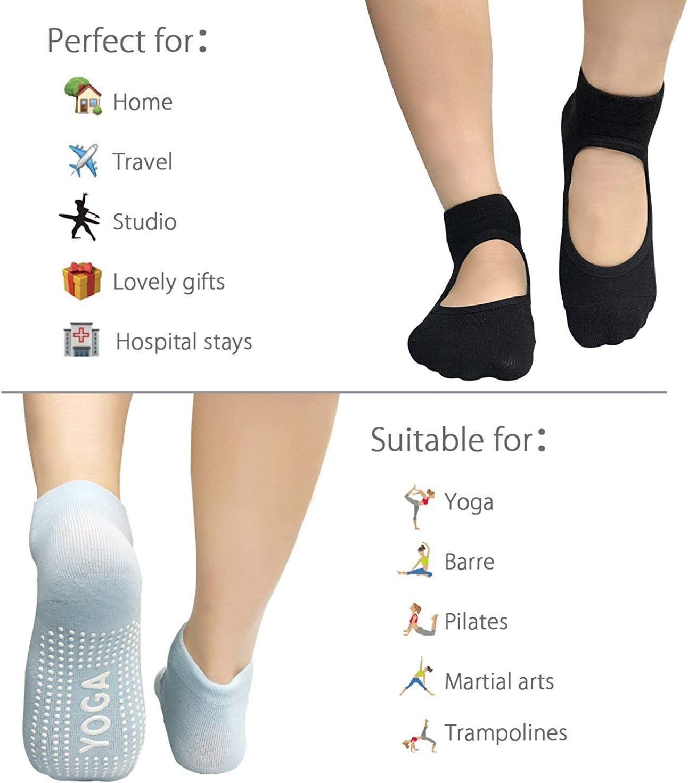LaLaAreal Calcetines Pilates Yoga Antideslizantes Traspirable Mujer para Barra Ballet Danza