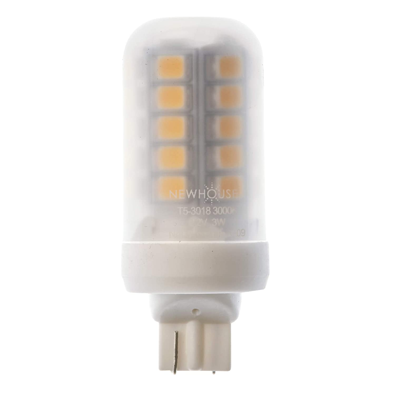 Newhouse Lighting T5 LED Bulb Halogen Replacement Lights, 3W (18W Equivalent), Wedge Base, 280 lm, 12V, 3000K, Non-Dimmable