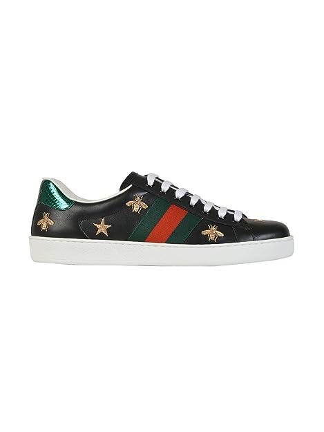 Gucci Hombre 386750A38F01079 Negro Cuero Zapatillas: Amazon.es: Zapatos y complementos