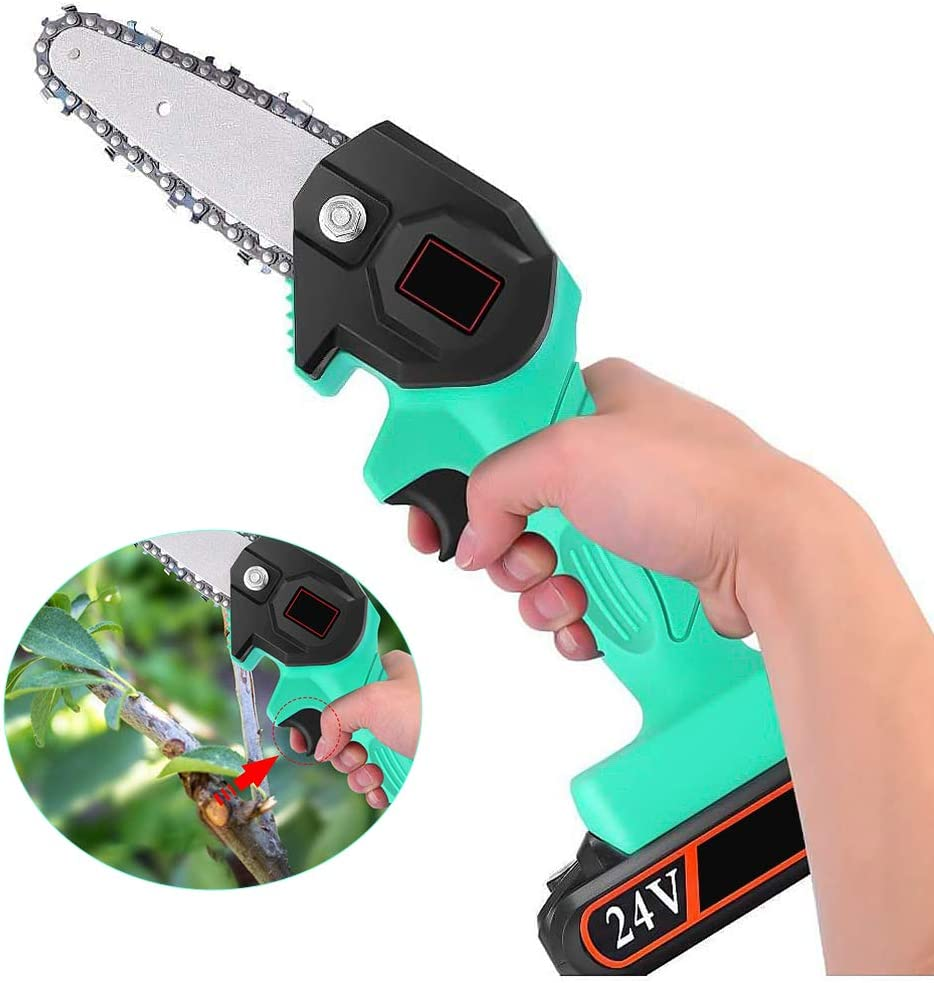 Pruning Shears Chainsaw for Tree Wood Branch Cutting Gardening Tool JackFum Mini Chainsaw 4-Inch Portable Cordless Electric Chainsaw with Battery Operated