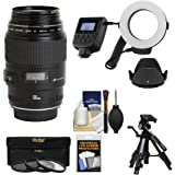 Canon EF 100mm f/2.8 Macro USM Lens with Ringlight + Tripod + Hood + 3 Filters Kit for EOS 6D, 70D, 5D Mark II III, Rebel T3, T3i, T4i, T5, T5i, SL1 DSLR Cameras