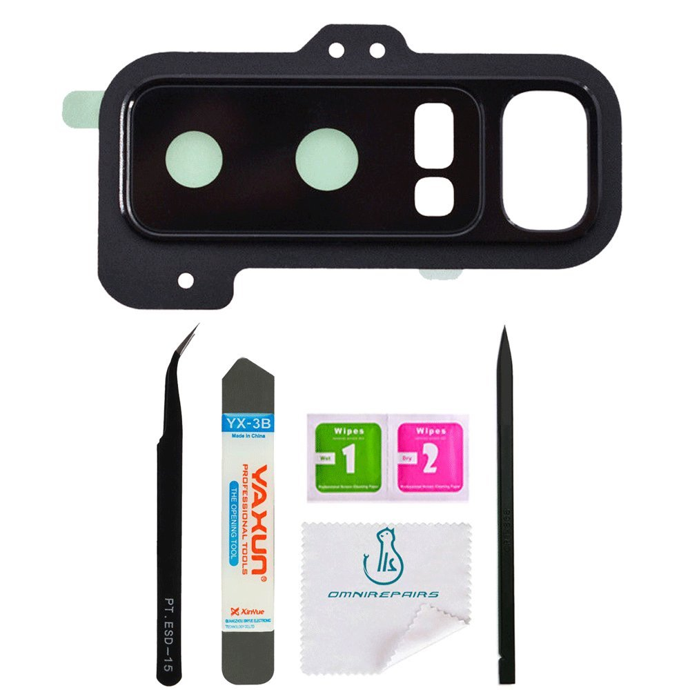 OmniRepairs Rear Facing Glass Camera Lens Replacement with For Samsung Galaxy Note 8 SM-N950 with Adhesive and Repair Toolkit (Glass Lens with Frame)