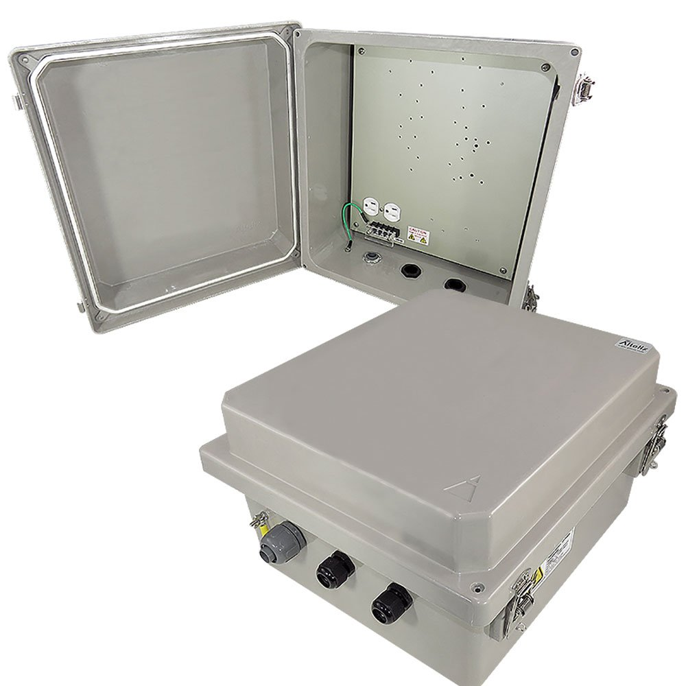 Altelix 14x12x8 Weatherproof Heated Fiberglass NEMA Box with 120 VAC Power Outlet, Aluminum Equipment Plate, 200W Heater
