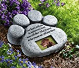 "Paw Print Pet Outdoor Memorial Stone, with 2""x3"" Picture Frame and Tribute Poem for Garden, Backyard, Lawn, Grave or Tombstone, Grey"