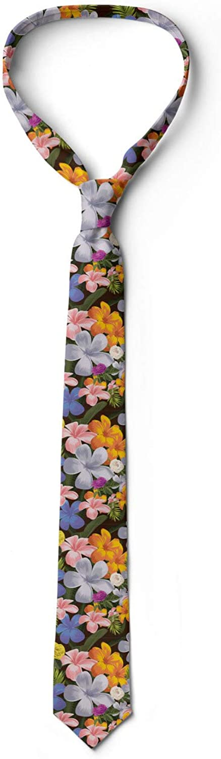 3.7 Colorful Various Flowers Charcoal Grey Multicolor Ambesonne Mens Tie