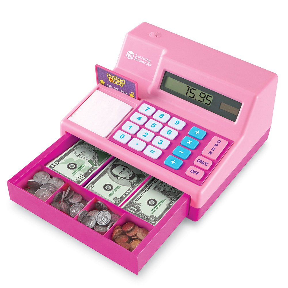 Learning Resources Pretend & Play Calculator Cash Register, Classic Counting Toy, 73 Pieces, Ages 3+, Pink by Learning Resources