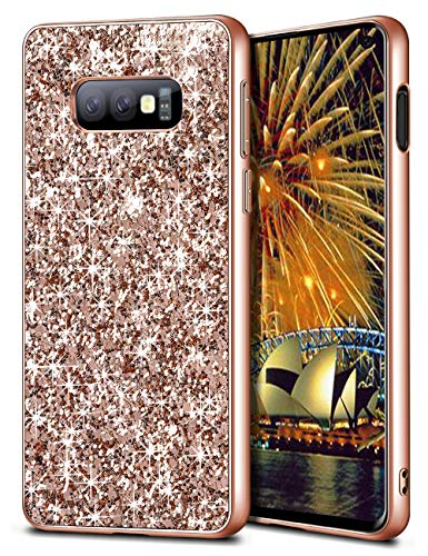Wollony Samsung Galaxy S10E Case,Ultra Slim Galaxy S10E Bling Shiny Glitter Case for Girl Hybrid TPU Shock-Absorption Bumper Sparkle Hard Back Cover for Galaxy S10 E 5.8