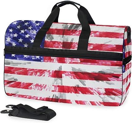 Women /& Men Foldable Travel Duffel Bag Black USA Flag For Luggage Gym Sports