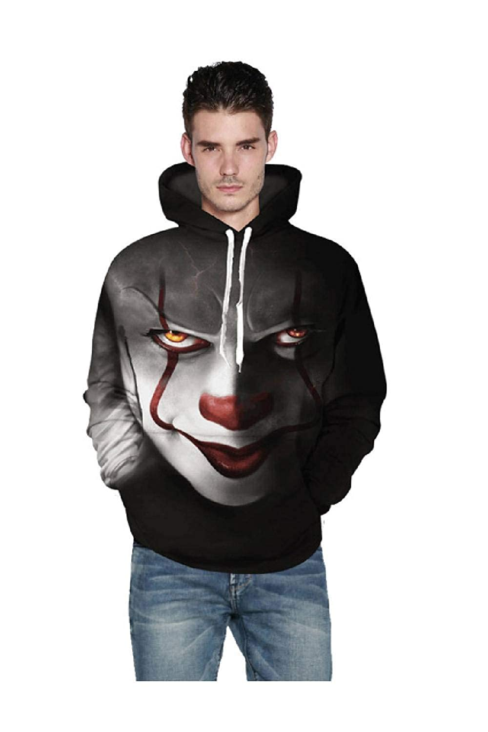 Mens Floral Print Clown Hoodie Long Sleeve Pullover with Pocket