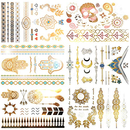 c0429906dd8c6 Boho Metallic Temporary Tattoos for Women Girls - 6 Sheets Gold and Silver  Small/Large