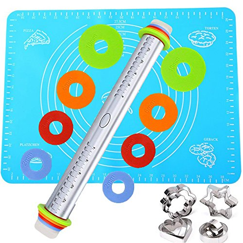Rolling Pin Bakery with Thickness Rings Set Stainless Steel Adjustable Dough Roller &Silicone Mat with Measurements&12 Cookie Biscuit Cutters Molds Set for Baking Dough, Pizza, Pie, (Multi Cookie Cutter)