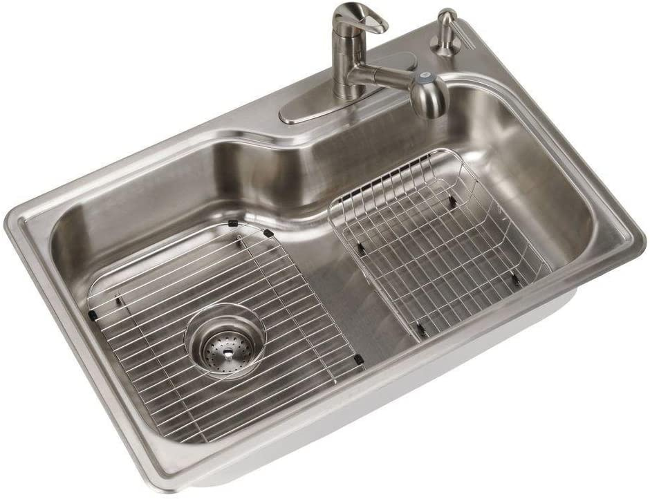 Glacier Bay All In One Top Mount Stainless Steel 33 In 4 Hole Single Bowl Kitchen Sink Amazon Com