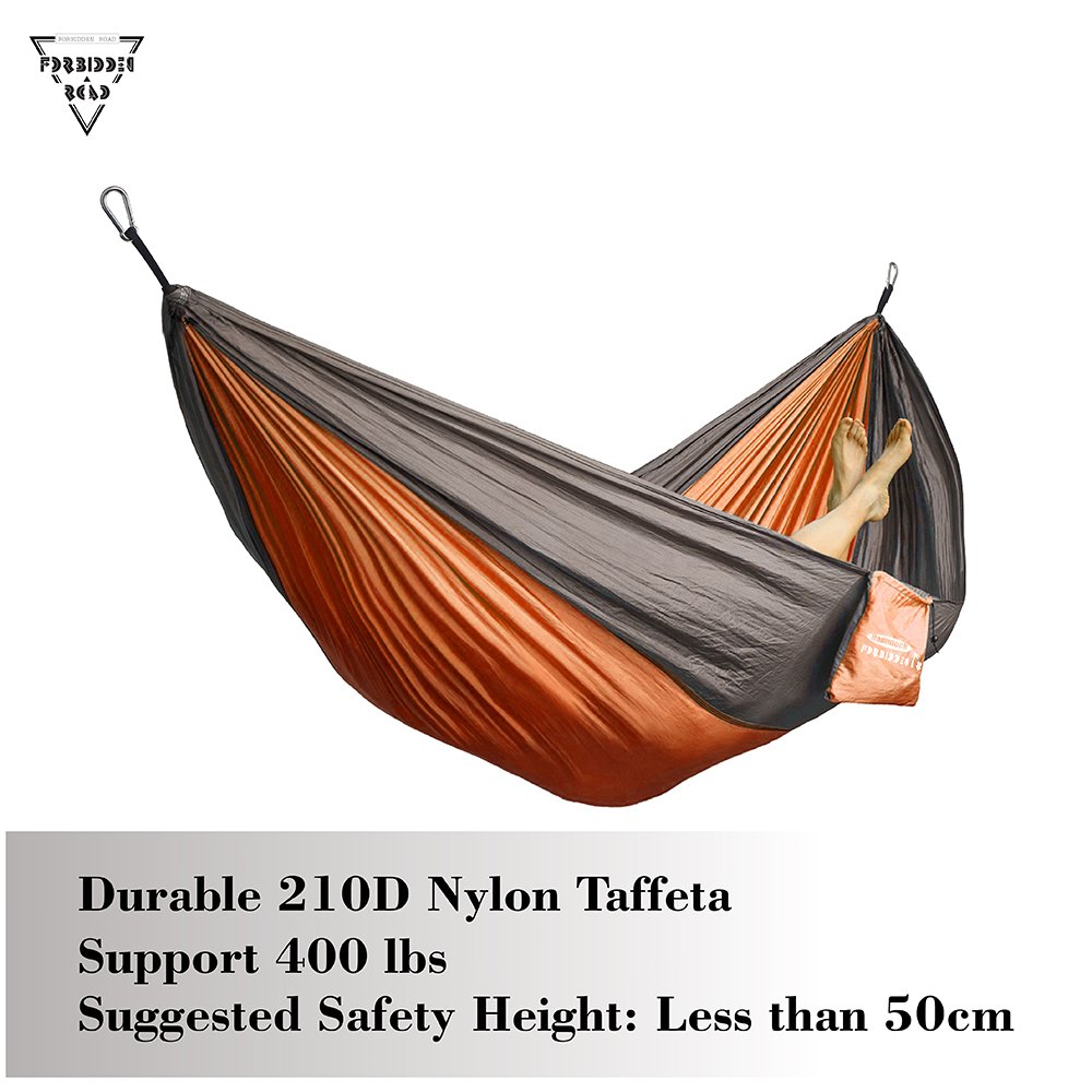 Support 400lbs Ropes Carabiners 11 Colors Forbidden Road Hammock Single Double Camping Lightweight Portable Parachute Hammock for Outdoor Hiking Travel Backpacking Nylon Hammock Swing