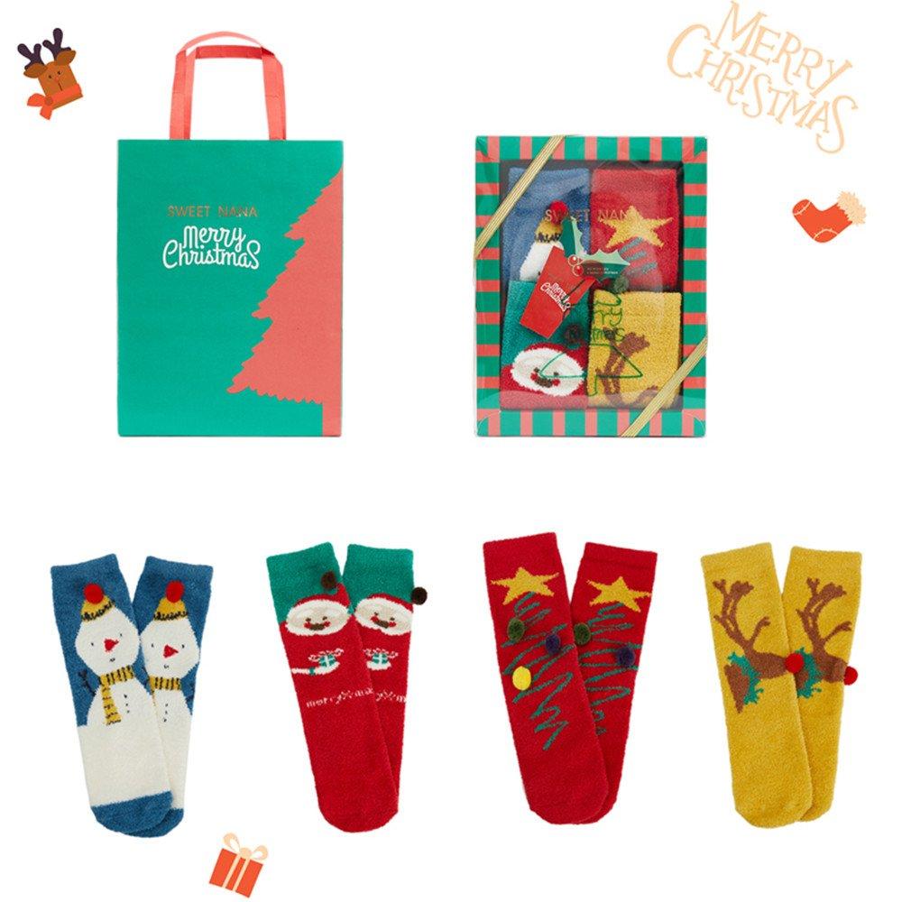VENI MASEE 4 Paar Unisex Weihnachts Korallen Samt Socken Strumpf Set ...