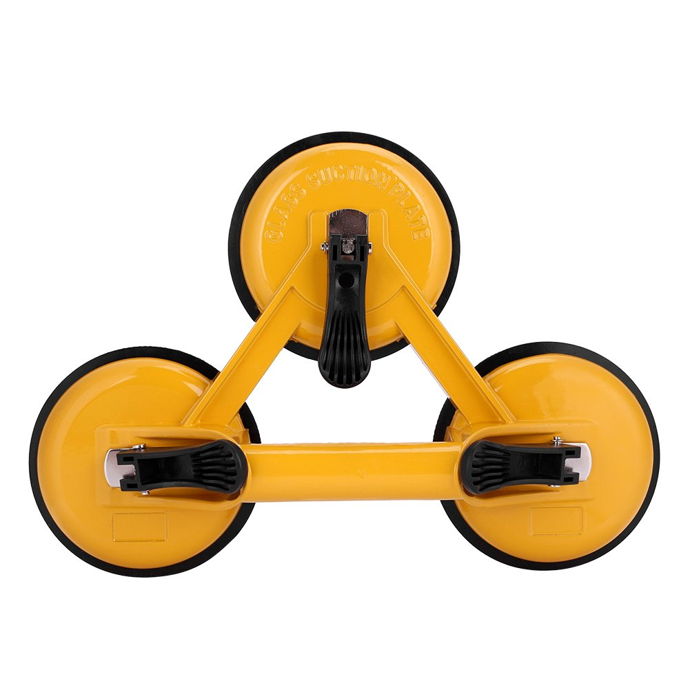 Zerodis Heavy Duty Aluminium Alloy Vacuum Suction Cup 3 Plate Professional Glass Puller Lifter Gripper Mover Sucker Pad Auto Tool Yellow