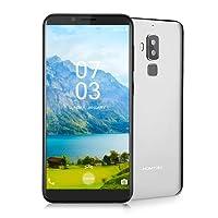Homtom S8 Smartphone Libre, 4G Teléfono Inteligente(5.7 Pulgadas 720 x 1440 pixel HD Pantalla, MTK6705T Octa Core 1.5GHz, 4GB RAM + 64GB ROM,Android 7.0, 16.0MP y 5.0MP Cámara Trasera + 13.0MP Cámara Frontal, Huellas Dactilares de Gesto Inteligente) (Plata)