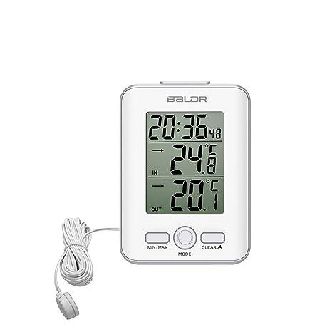 Termómetro SXWY, Termómetro Portátil Interior Y Exterior Con Sonda, Termómetro Digital Con Reloj Y