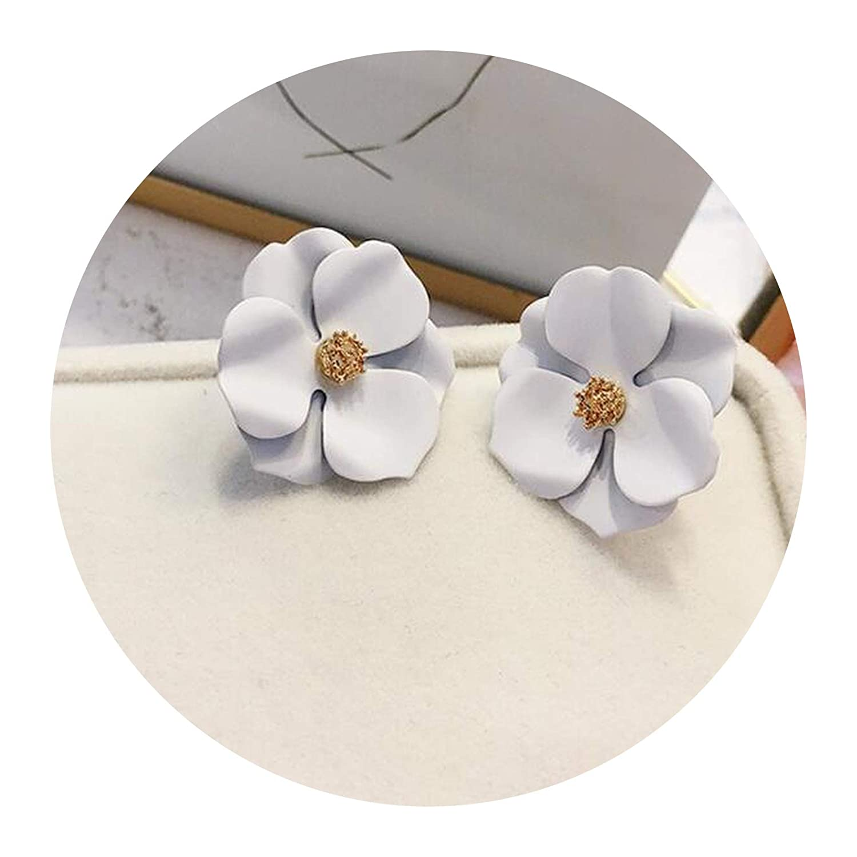 Cute Metal Flower Stud Earrings For Women Girl Fashion Big Sweet Earring Femme Brinco Summer Jewelry Gifts