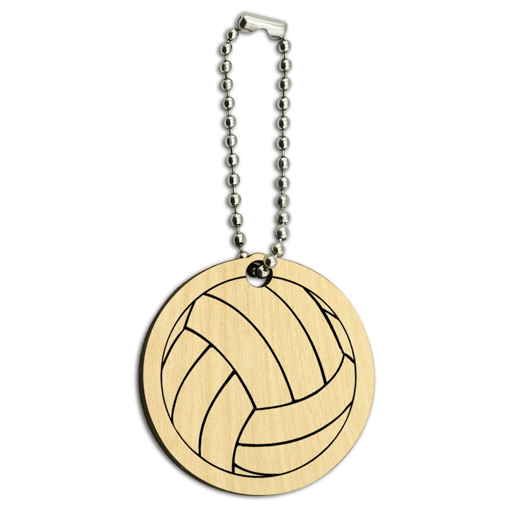 Cartoon Volleyball Wood Wooden Round Key Chain