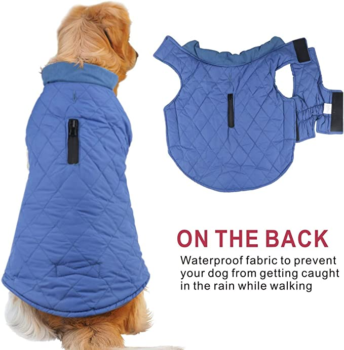 Idepet Waterproof Dog Coat Winter Warm Jacket Vest Windproof Snowsuit Dog Clothes Outfit Vest Pets Apparel For Small Medium Large Dogs With Harness Hole Blue S Amazon Co Uk Pet Supplies
