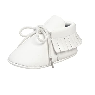 ESTAMICO Zapatos de cordones con borlas de suela suave para bebé niña mocasines bebé niño Blanco 12-18 Meses: Amazon.es: Zapatos y complementos