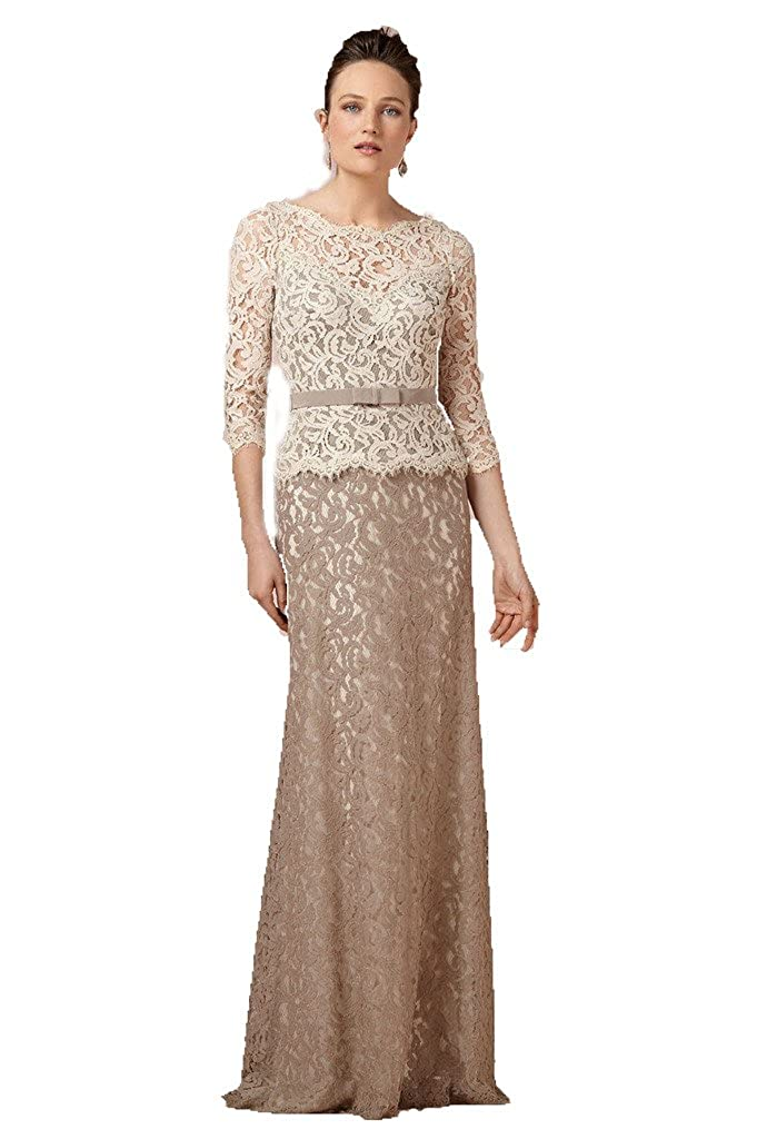 Diandiai Women's Scoop 3/4 Sleeve Long Mermaid Lace Mother Of The Bridal Dress