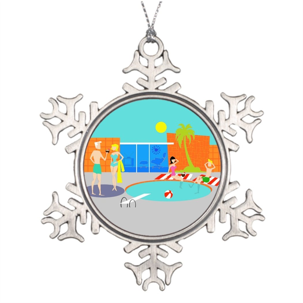 Touytlyd Xmas Trees Decorated Mid Century Modern Cartoon Star Snowflake Ornaments Vacation Countdown Retro Pool Party