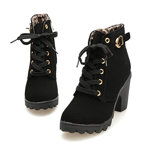 Amazon.com: Cheap Boots For Women High Heel Lace Up Ankle Boots Ladies Buckle Platform Shoes: Clothing