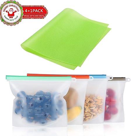 Bolsas de silicona reutilizables para almacenamiento de alimentos, libre de BPA, bolsas de vapor