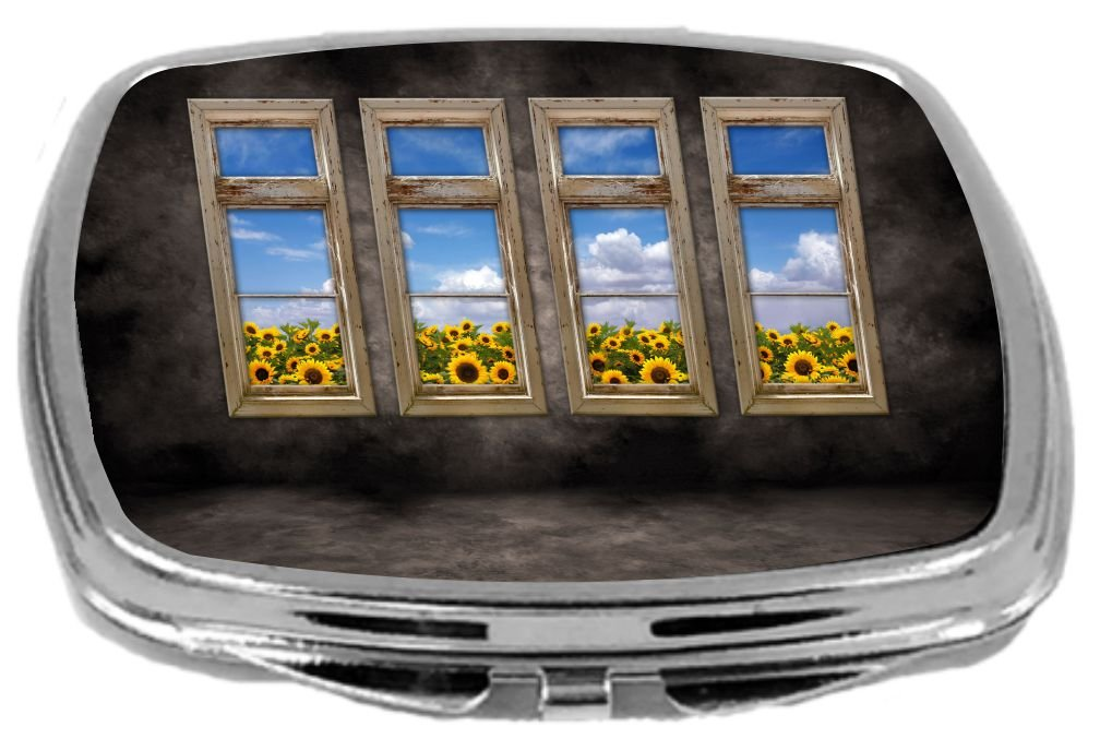 Rikki Knight Compact Mirror, Beautiful Sunflower View Old Distressed Interior Windows, 3 Ounce