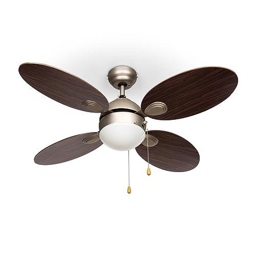 """Klarstein Valderama Ventilateur de Plafond 4 pales (Silencieux, diamètre de 42"""", 3 Vitesses au Choix : Basse, Moyenne, Haute, Lampe integrée) - Palissandre"""